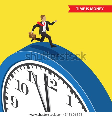 Time is money. Time management abstract illustration, isometric style. Businessman with briefcase running on the blue clock