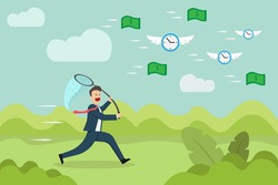 Time is money vector concept: Businessman running to chase and catch money and clock