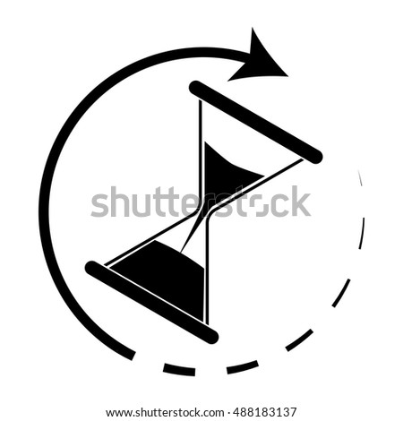 Time is running. Hourglass monochrome. Hourglass icon and time running out. Vector illustration