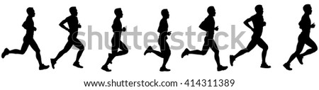 Time-lapse silhouette of a runner in motion, isolated against white.