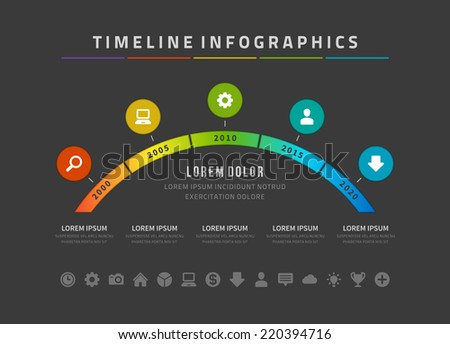 Time line infographic and icons vector design template For web design time line and work flow layout