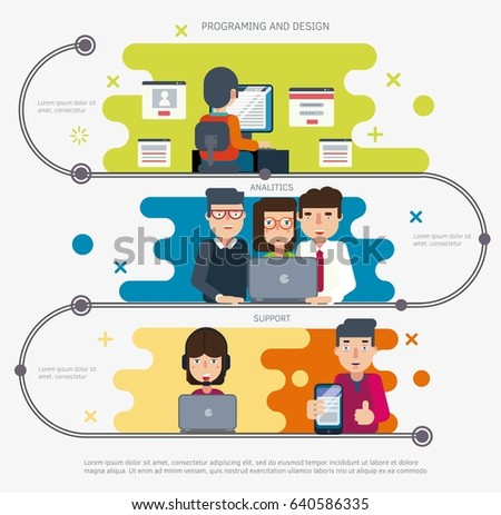 Time line Infographic Web project development. Vector illustration.
