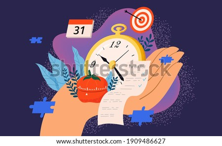 Time management and control vector illustration. Hand holds watch, pomodoro tracker, to-do list. The concept of productivity and efficiency.  Stock photo ©