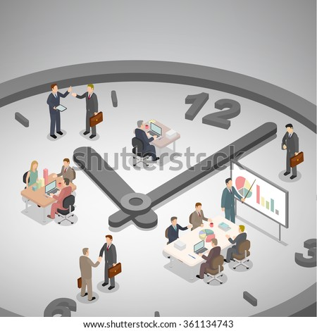 Time management business concept. Group of businessman working on a big clock. Isometric illustration vector. Foto stock ©