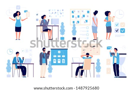 Time management. Business people managed tasks, planning office strategy. Organize success activities, appoint schedule vector set