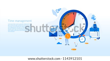 Time management, clock business work calendar Concept for web page, banner, presentation, social media, documents, cards, posters. Vector illustration management images, planning, time organization
