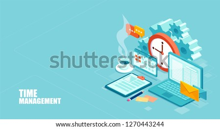 Time management concept. Efficient use of worktime for implementation of the business plan. Vector of a top view of the workplace.