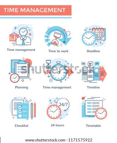 Time management concept icons, thin line color set, flat design