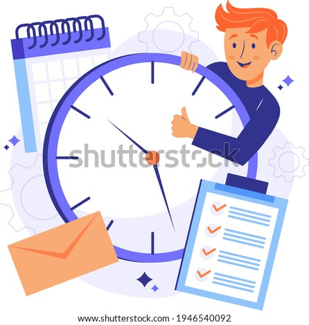 Time management concept planning, organization, working time. Time organization efficiency. Schedule job project team. Good business process. Time control plan technology. Vector illustration.