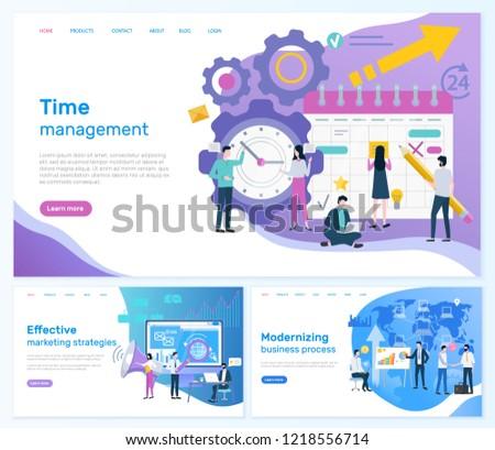 Time management, effective marketing strategies vector. Modernizing business process teamwork working on plan organization social networks promotion