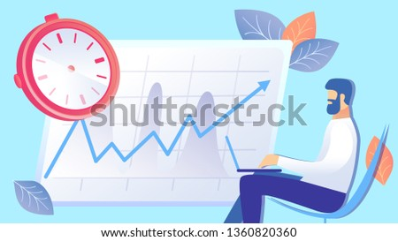 Time Management, Efficiency Rise Flat Illustration. Entrepreneur Working with Laptop Cartoon Character. Efficient Workflow Optimization, Productivity, KPI Increase. Businessman Organizing Schedule