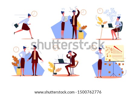 Time management failure set. Businesswoman late for work, arguing with colleague, bad in emails and graphs. People concept. Vector illustration for topics like loser, failure, messing business