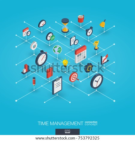 Time management integrated 3d web icons. Digital network isometric interact concept. Connected graphic design dot and line system. Abstract background for business strategy, plan. Vector Infograph