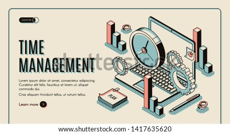 Time management landing page. Laptop with office gears and watches, task prioritizing, organization for effective productivity. Optimization planning time isometric vector illustration line art banner Сток-фото ©