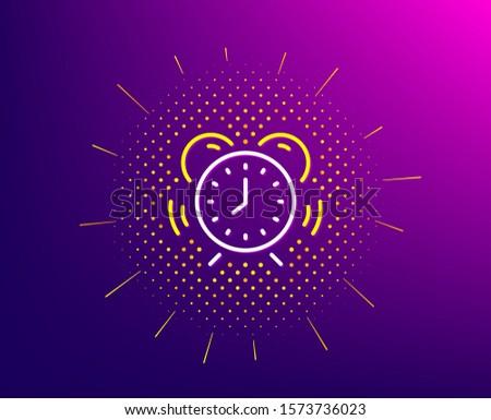 Time management line icon. Halftone pattern. Alarm clock sign. Watch symbol. Gradient background. Time management line icon. Yellow halftone pattern. Vector