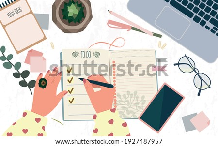 Time management, multitasking, effective month planning, to do list. Woman's hands writing plan in notebook at cozy home. Colorful vector flat cartoon top view illustration. Job schedule optimization. Stock fotó ©