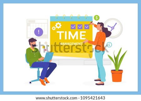 Time management, planning and organization of working time.Easy to edit and customize. Flat vector illustration