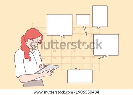 Time management, schedule, planning concept. Young positive businesswoman planning day scheduling appointment in calendar, sending messages, adding event, putting reminders in tablet