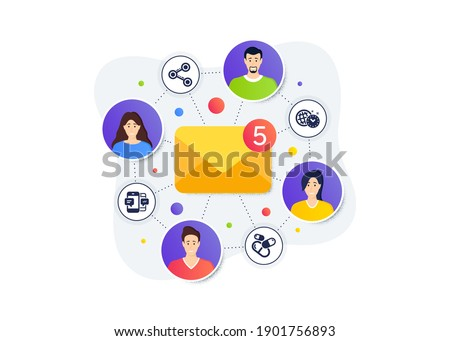 Time management, Share and Smartphone sms icons simple set. Teamwork messages banner. Employee remote work. Capsule pill sign. World clock, Follow network, Mobile messages. Medicine drugs. Vector Photo stock ©