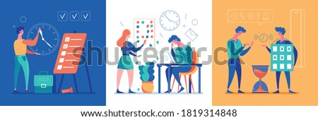 Time management skills 3 flat cartoon concept compositions tight deadline handling projects tracking hourglass symbols vector illustration