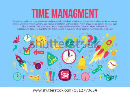 Time management stickers set set