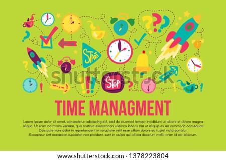 Time management stickers set set
