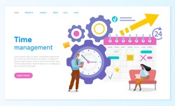 Time management webpage template. Group of businessmen working near big clock and schedule calendar illustration, main stages of development. Successful administration business concept landing page