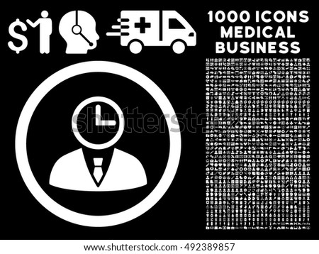 Time Manager icon with 1000 medical business white vector pictograms. Clipart style is flat symbols, black background.