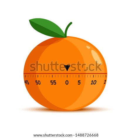 Time measuring tool or kitchen timer isolated object mechanic stopwatch vector. Orange fruit shape, cooking item or device, dish preparing timing measurement. Scale or timeline, cogwheels mechanism