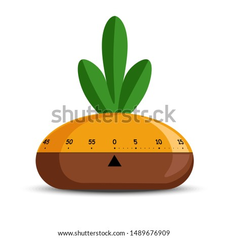 Time measuring tool or timer isolated object mechanic stopwatch vector. Turnip vegetable shape, kitchen item or device, cooking timing measurement. Scale or timeline, cogwheels mechanism starting