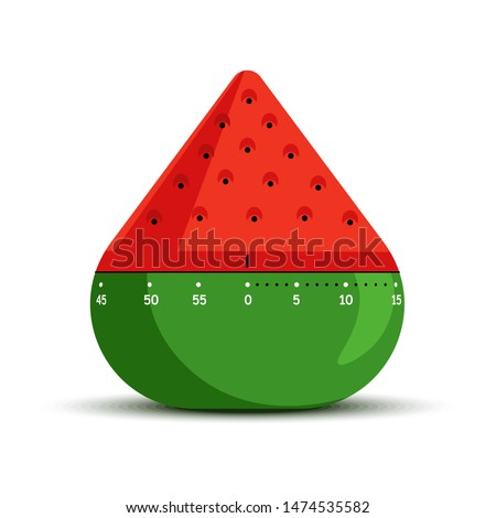 Time measuring tools or timer isolated icon mechanic stopwatch vector watermelon cone shape kitchen item or device cooking, timing measurement berry slice and scale or line cogwheels mechanism