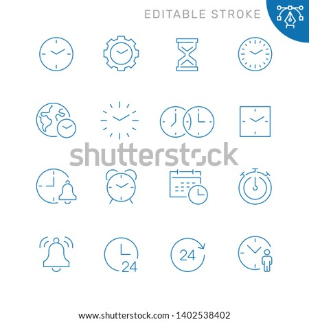 Time related icons. Editable stroke. Thin vector icon set, black and white kit