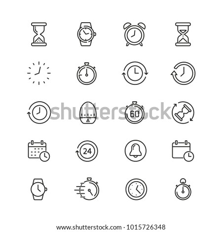 Time related icons: thin vector icon set, black and white kit