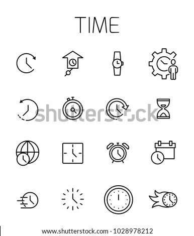 Time related vector icon set. Well-crafted sign in thin line style with editable stroke. Vector symbols isolated on a white background. Simple pictograms. #1028978212