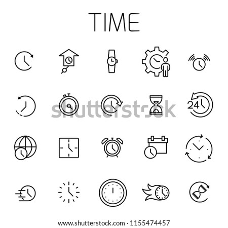 Time related vector icon set. Well-crafted sign in thin line style with editable stroke. Vector symbols isolated on a white background. Simple pictograms. #1155474457