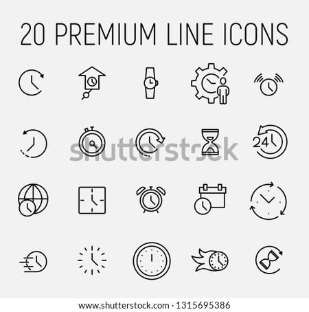 Time related vector icon set. Well-crafted sign in thin line style with editable stroke. Vector symbols isolated on a white background. Simple pictograms #1315695386