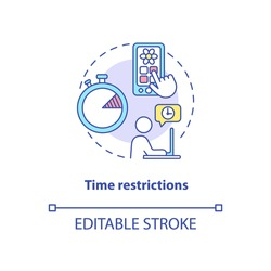 Time restrictions concept icon. Parental control element idea thin line illustration. Screen time monitoring. Internet access control. Vector isolated outline RGB color drawing. Editable stroke