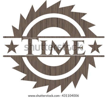 Time retro style wood emblem