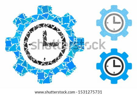 Time setup gear composition of inequal parts in variable sizes and color tones, based on time setup gear icon. Vector raggy parts are composed into composition.