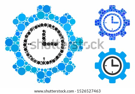 Time setup gear mosaic for time setup gear icon of filled circles in different sizes and shades. Vector random circles are organized into blue mosaic.