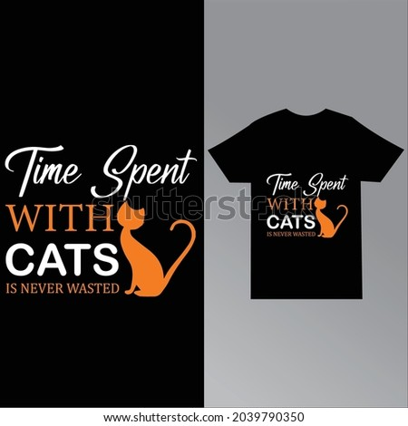 Time spent with cats is never wasted t-shirt design template Stock fotó ©