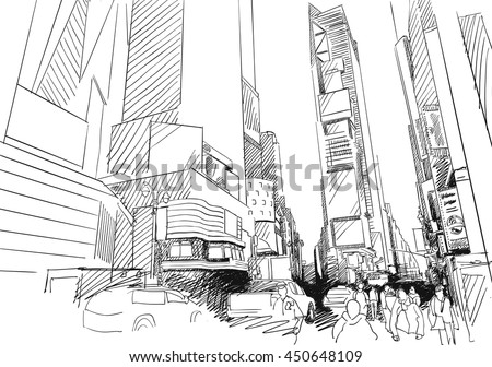 Time Square, New York City. Hand-drawn Vector Outline Sketch. Unique perspective.