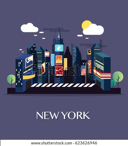 Time Square New York.Vector Illustration.