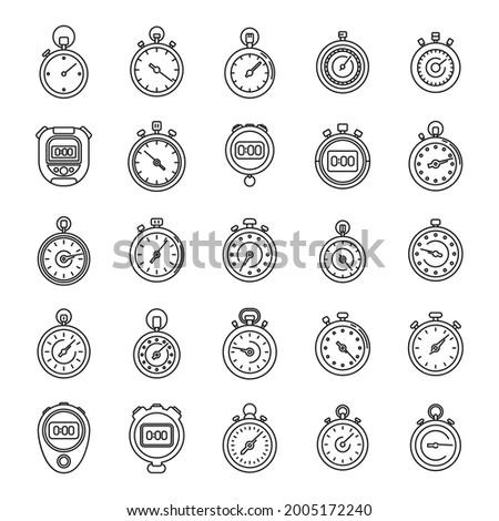 Time stopwatch icons set outline vector. Clock timer. Sport stopwatch Photo stock ©