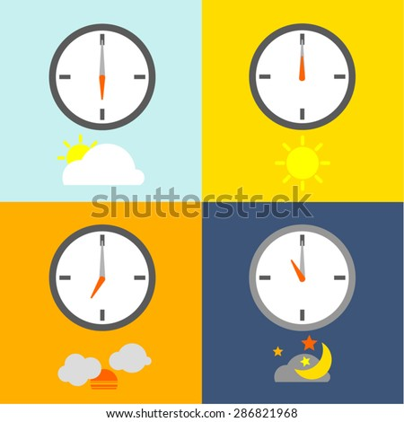 time table clocks show 4 times