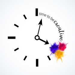 Time to be creative. A clock with powder color explosion. splashes. Concept or different thinking, creativity and unique ideas. Vector illustration