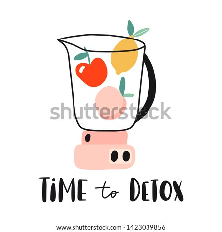 Time to detox.  Blender with summer fruits: apple, lemon, peach. Fresh organic  natural vegan food concept. Flat hand drawn design for bar menu, banner, card, poster. Detox, diet, healthy lifestyle