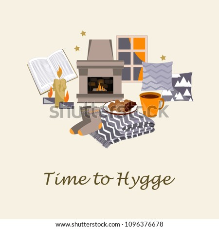 Time to Hygge Vector illustration. Cozy home things like candles, pillow, fireplace, rug, tea, and cookies. Danish living concept. Greeting card templatee