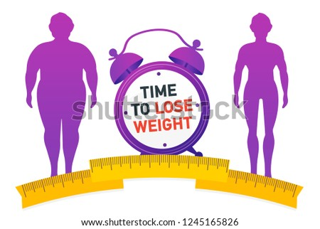 Time to Lose Weight. Weight loss concept. Fat and thin man.