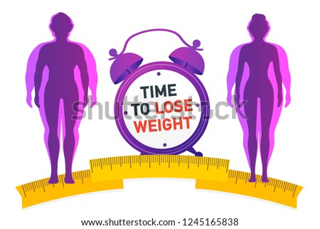 Time to Lose Weight. Weight loss concept. Fat and thin man and woman.